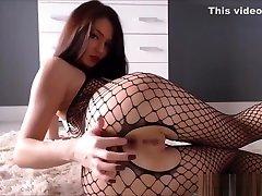 Full body Fishnet Stockings On A Kinky Brunette