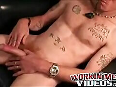 Mature punk plays with his hard cock and shoots out a load