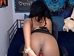 Webcam ebony-model with natural tits strips naked