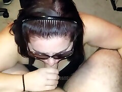 Sexy girls sex dres opn sucks in sunglasses and gets cum covered