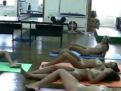 Nudist women gymnastics