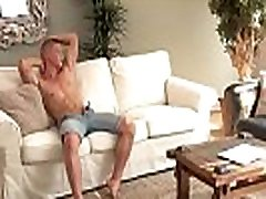 Perfect blond guy jerking with cum