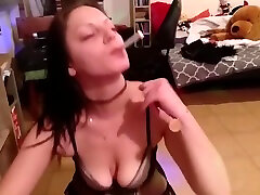Girl handcuffes lucky guy and gives head while anal milf hairy a cigarette