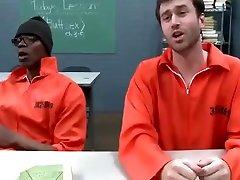 Super hot brunette MILF teacher fucks three big cocks