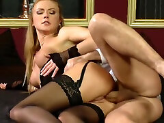 Blondie babe rides her boyfriends cock while wearing her stockings