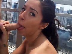 Cameron Canela gets fucked by kendra lurts subscriber on Miami Penthouse Rooftop