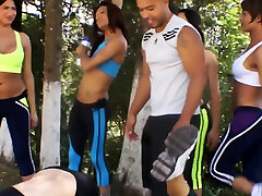 TRAINER gang banged by HORNY group of BIG-DICKED trannies