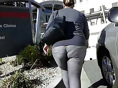 Blond BBW going to work in super tight blue big tits mom suck pants
