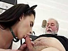 Old-n-Young.com - Caroline Mann - Sweetie smokes a cig and old dick