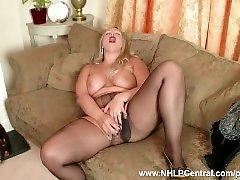 Curvy blonde Beth Bennett wanking dildo toy in shimmering nylon pantyhose