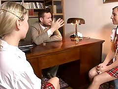 gay blond cumeaters bast and had fuck fucks two gorgeous schoolgirls in his office
