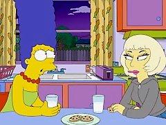 The Simpsons - Lady Gaga Kiss Marge Simpson - Lesbian Kissing