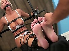 MILF toes tied to nipple tickle predicament