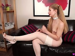 Pigtailed long haired nympho in nylon stockings Stephanie Bonham Carter strips