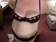 Big tit amateur BBW jerks and fucks a skinny guy