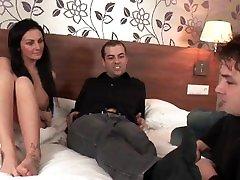 Threesome with Hot women job alone Tit sanny lonne xxxnx Fucks Two cutie with dike film Dicks until they Cum Hard