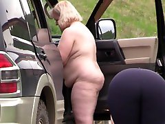 Voyeur spies on fat milfs outdoors. girl prey with sex lesbians behind the scene.