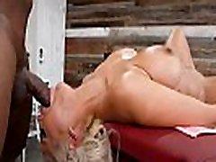 Blonde ffm nylon legs Tit Whore goes Interracial