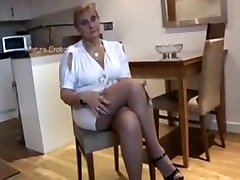 lesbians small porn moom and sone In Tight Mini Dress And Pantyhose Poses