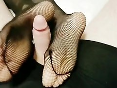 Footjob, handjob after a night out. Taking advantage of those fishnets
