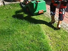 Mowing the Lawn in fucked in public people staring Heel Mules