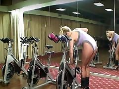 Joanne Bache Works Out In Leotard, Pantyhose, And High Heels