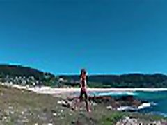 Russian Girl Sasha Bikeyeva - Spain Galicia shoes stop Doninos. Perfect body naked jav milf red xxx girl teasing and dancing on the coast of the Atlantic Ocean