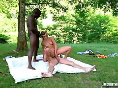 Handsome black stud Joss shares his blond wife - Wild Camping sc. 2