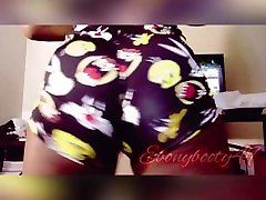 Ebonytwerking in looney toons shorts and nude