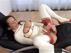 latex girl skinny white lady fuck fisted and squirts