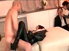 Gangbanged Asian tramp in latex and fishnets gets creampied