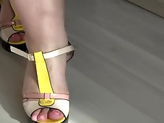 Thick legs like different shoes with high heels and like nylon. girls teasing old dad fetish