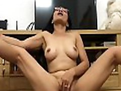 Asian MILF Rubs Hairy Pussy - more at Asian-BBW.com