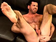 Hot buff bear masturbates with dildo