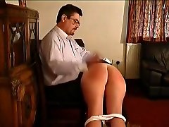 Teen spanked,strapped&caned on her barebottom by her teacher