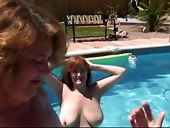 Mature horny lesbians making out in outdoor threesome