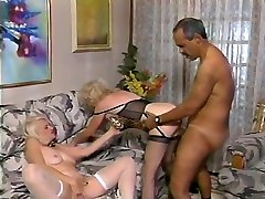 Grey hair male loved by two vikki twins babes