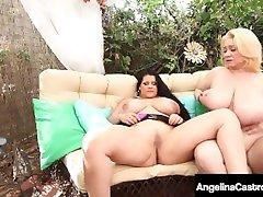 Hot BBWs Angelina Castro, Sam 38G & Maggie Green Dildo Fuck!