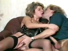 German indin goral in stockings fucks husband while being looked at
