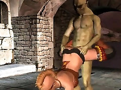 Hot 3D cartoon blonde babe getting fucked by a goblin