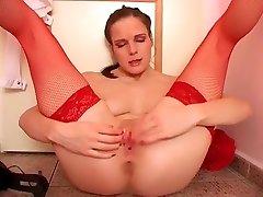babe in red lingerie annab oma pilu split