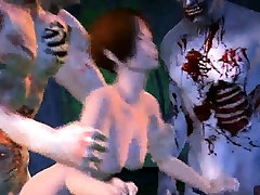 3D cartoon babe getting gang banged by some zombies