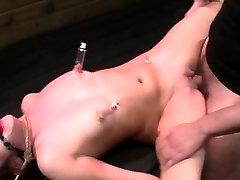 Bound suctioned sub mouth fucked