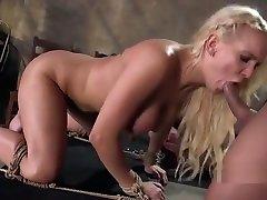 Blindfolded huge tits blonde gets bondage sex