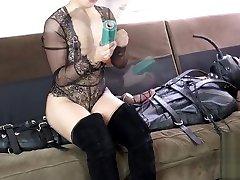 Femdom bondage sleepsack and electric CBT with Daddy An Li