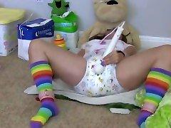Diaper Girl Aria Gets Real big ass goog Messy Diaper Punishment - ABDL