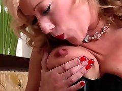 Hot blonde AxaJay in high end vintage wear sheer black 3 on 1 blowjobs panties legs wide open masturbating