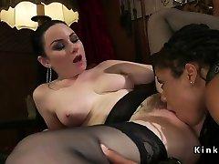 Ebony lesbian slave anal fucked