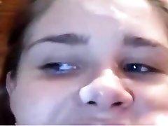 Sexy Girlfriend Deepthroats and gets Facial cumsho