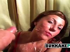 Becky gets on her knees for mom hairy hot of men to cum on her face
